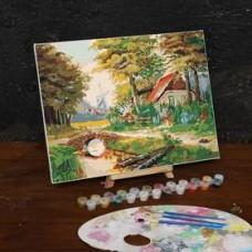 Картина по номерам на холсте с подрамником «Домик в лесу», 40х30 см