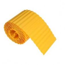 Лента бордюрная, 0.15 × 9 м, толщина 0.6 мм, пластиковая, гофра, жёлтая